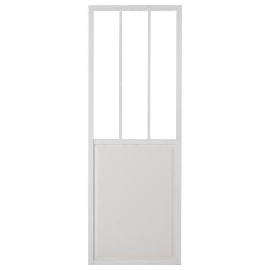 porte coulissante aluminium atelier verre clair blanc artens h 204 x l 83 cm bureau. Black Bedroom Furniture Sets. Home Design Ideas