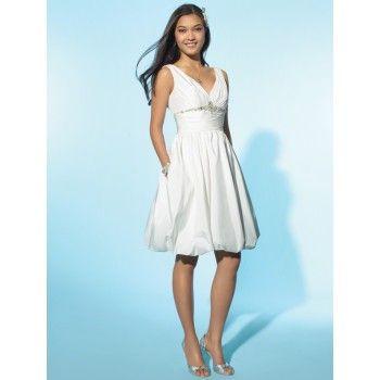 2013 Chic Petite Short White Beach Wedding Dresses with Pockets (I ...