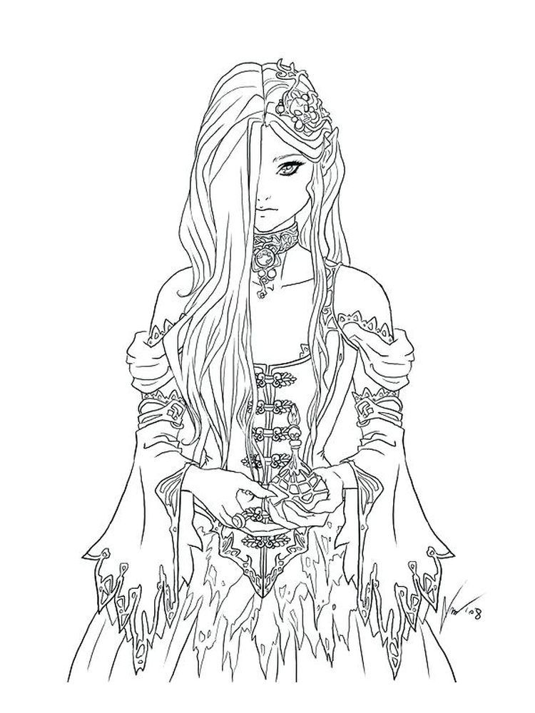 Gothic Art Coloring Pages Below Is A Collection Of Gothic Coloring Page Which You Can Download For Free Ha Fairy Coloring Pages Fairy Coloring Coloring Books