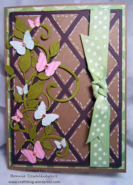 """For February the letter is L on one of my Alpha Swaps. I went with """"Lattice"""" I found a lattice on the Cartridge Wild Card, added vines and butterfly's. The butterflys are punched …"""
