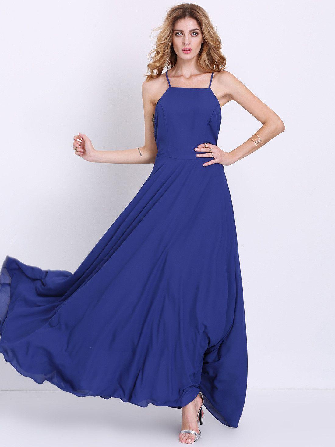Blue spaghetti strap backless maxi dress backless maxi