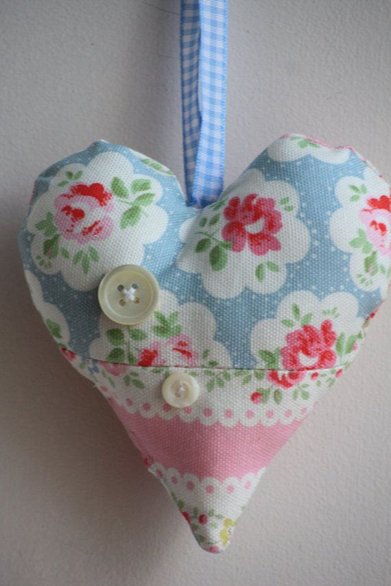 Fabric Heart Pin Cushion Handcrafted With Cath Kidston Blue Provence Rose