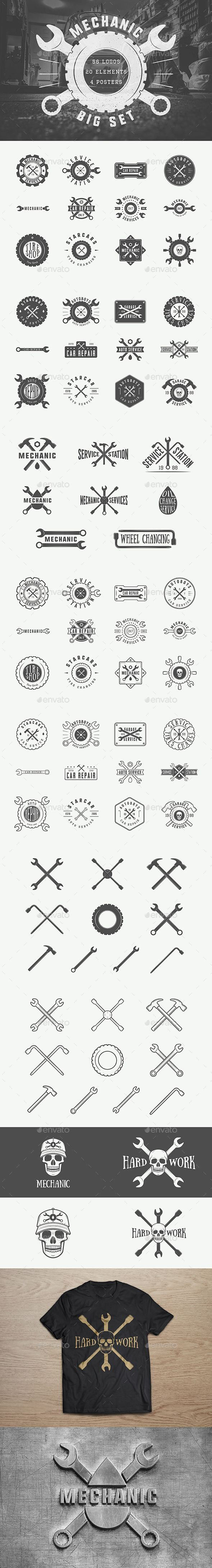 Mechanic Vintage Emblems Template PSD, Vector EPS, AI Illustrator