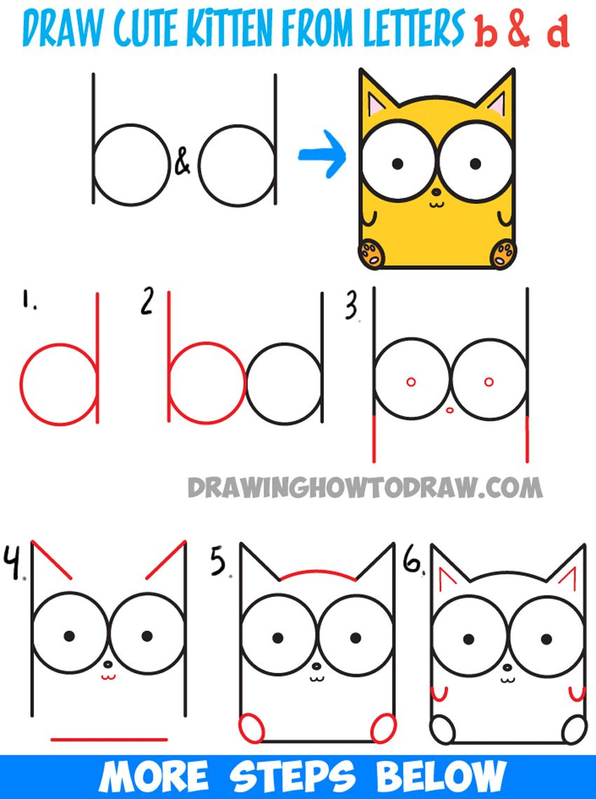 How To Draw Cartoon Baby Kitty Cat Or Kitten From Letters Easy