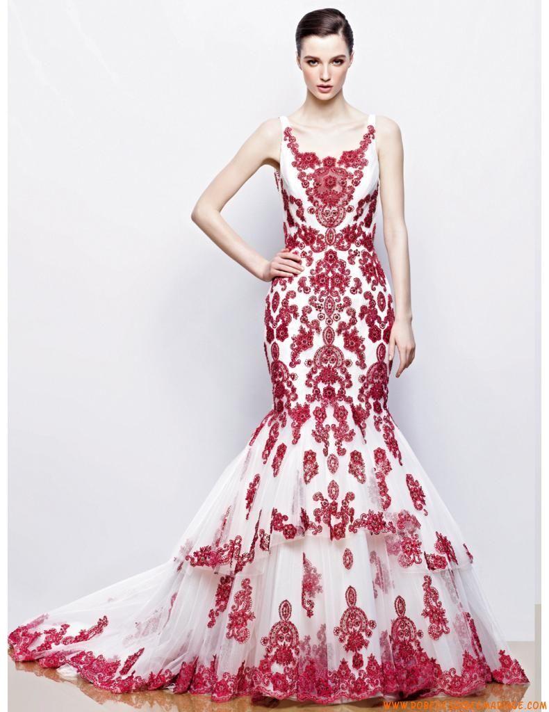 Robe de mariée sirène 2014 tulle application dentelle bordeaux ...