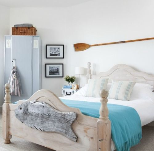 nautical country style bedroom get cozy with country style rustic wood bed frame and paddle on the wall