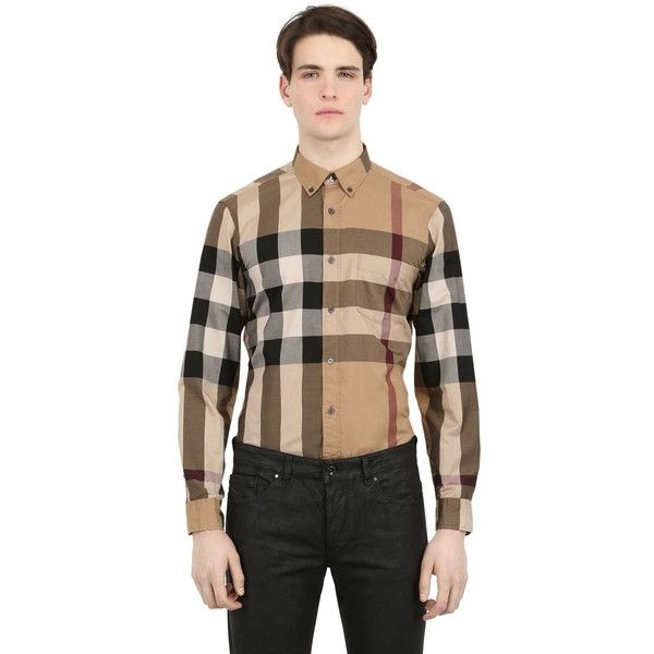 23d796cc Burberry Brit Men Macro Check Shirting Cotton Shirt ($255) ❤ liked on  Polyvore featuring