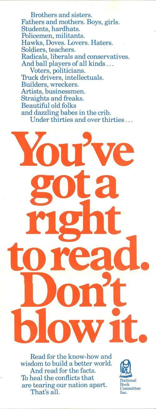 You've got a right to read. Don't blow it. | Book worth ...