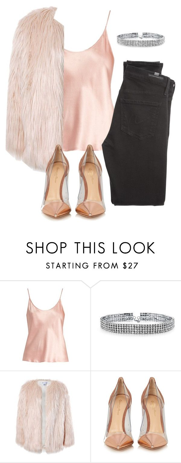 """pink"" by thefashionguilty on Polyvore featuring La Perla, Bling Jewelry, Sans Souci, Gianvito Rossi and Citizens of Humanity"