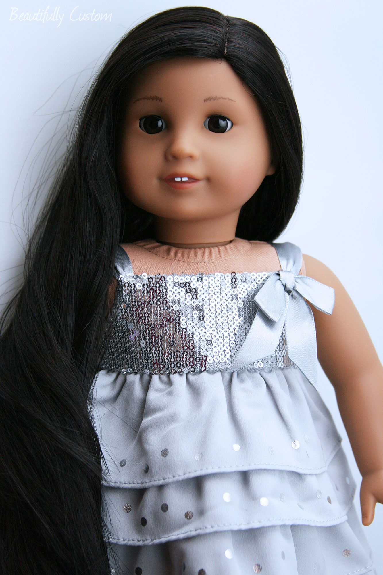 Custom American Girl Doll Brown Eyes Long Black Hair Medium