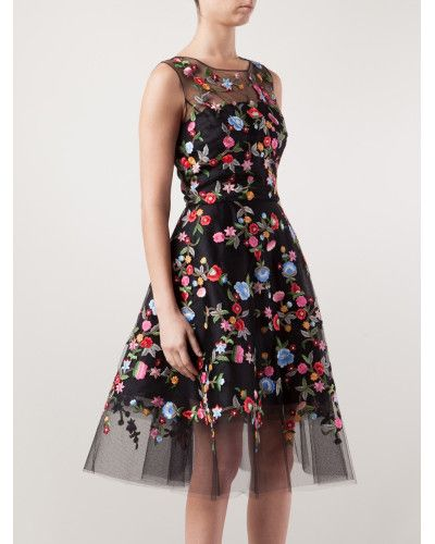 Women s Black Floral Embroidered Tulle Dress  2401b1b68f04f