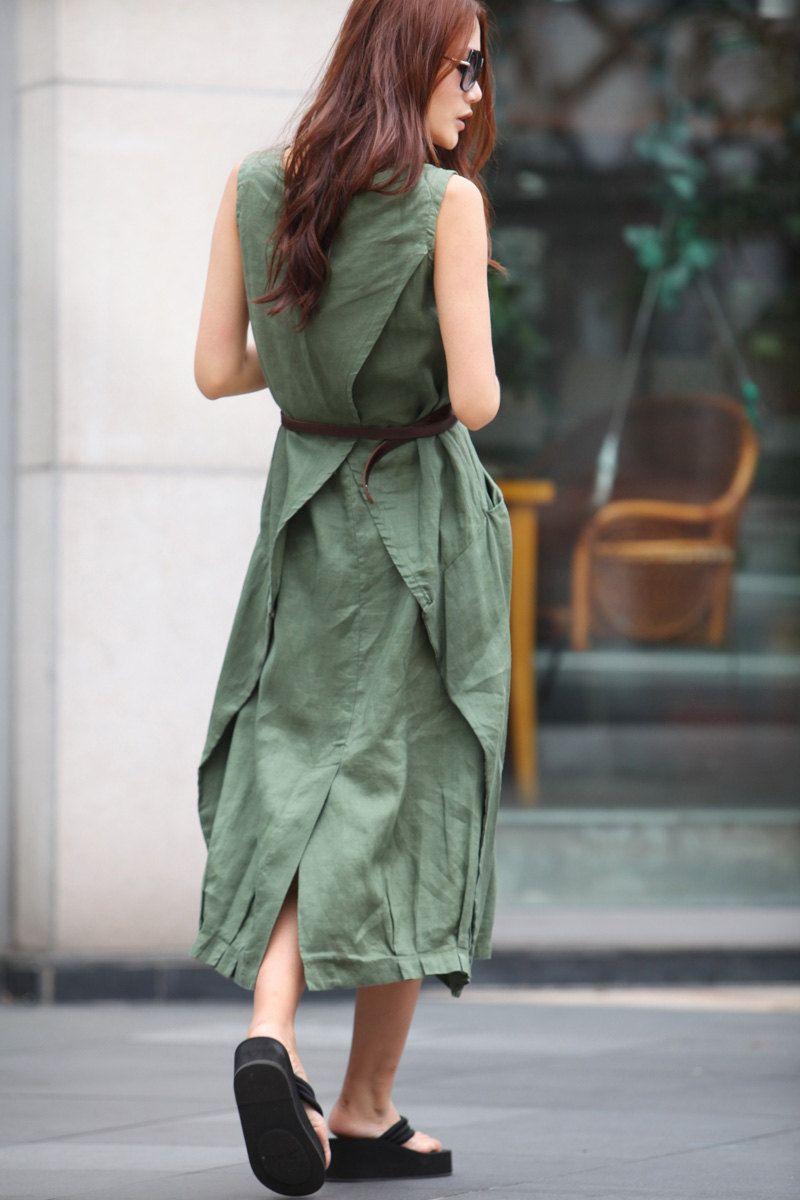 Maxi Dress Unique Sundress in Amy Green Summer Long Dress - NC307. $74.00, via Etsy.