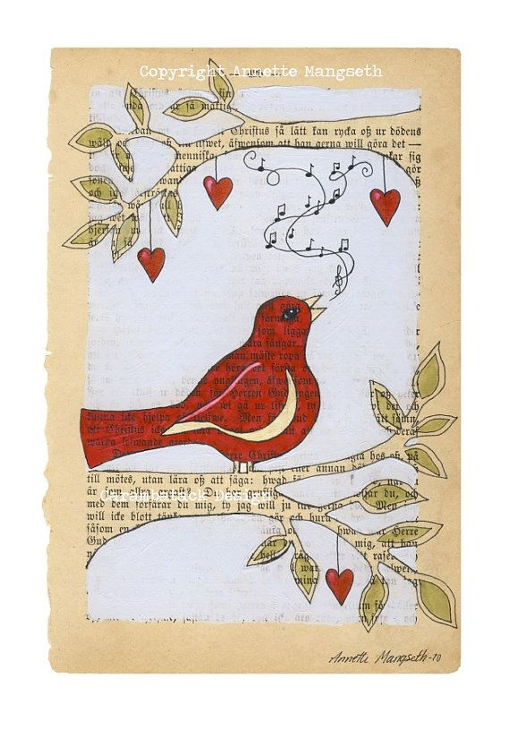 Red bird  -  Print - Bird on branch -  book page art from norwegian artist Annette Mangseth