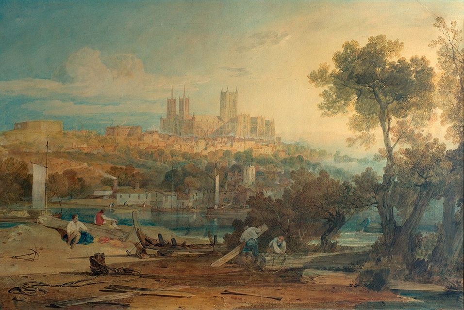 Lincoln Cathedral From The Brayford Holm Artwork Painting Value