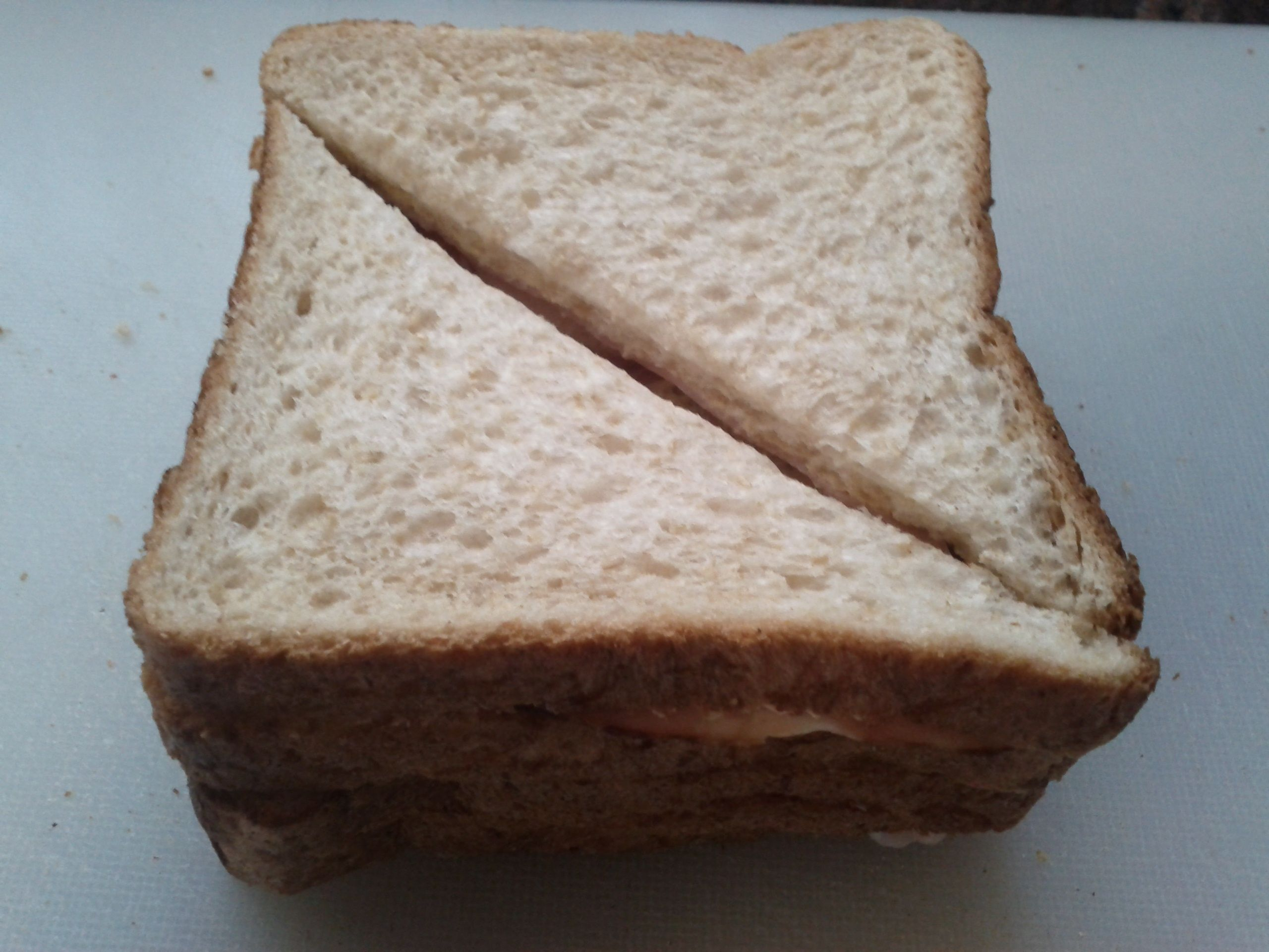 A Ham Sandwich cut int...