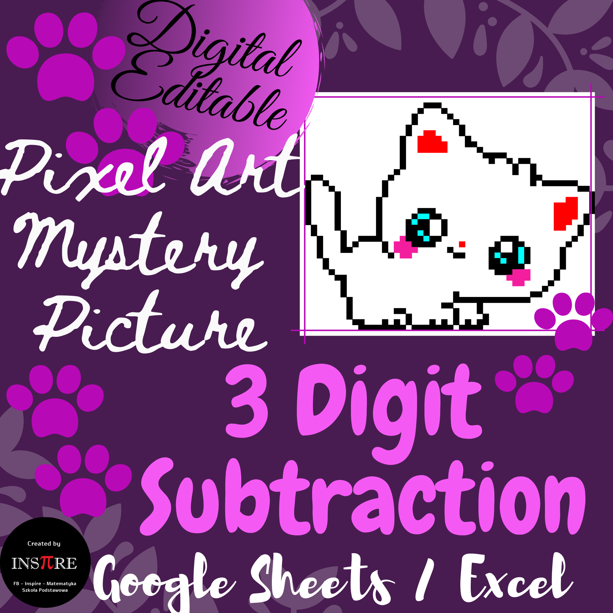 3 Digit Subtraction With Regrouping Cat Math Pixel Art Mystery Picture Editable In 2021 Math Elementary Math Lessons Mathematics Worksheets [ 2000 x 2000 Pixel ]