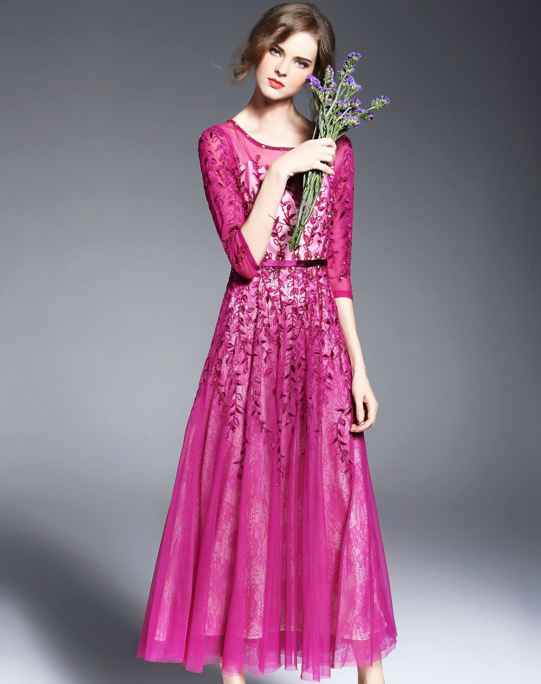 Purple embroidered illusion sleeve beaded floral swing maxi dress