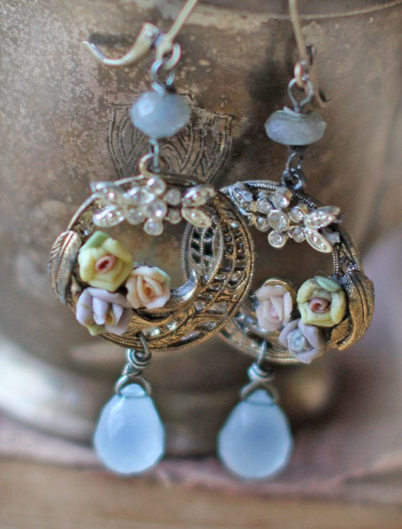 Hymn of Promise-assemblage vintage earrings pastel roses blue briolettes rhinestone laboradites floral romantic  filigree crowned by grace