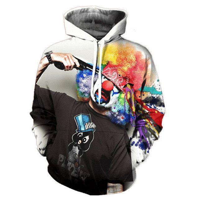 2017 Autumn Winter Cap Hoodies Men/women Hip Pop Pullovers Print Paint Color Blocks Hoody 3d Graffiti Sweatshirts Sportwear