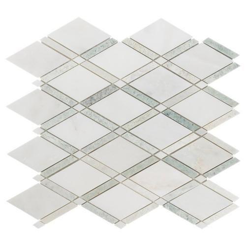 Carrara White Caribbean Green Diamond Marble Mosaic 12in