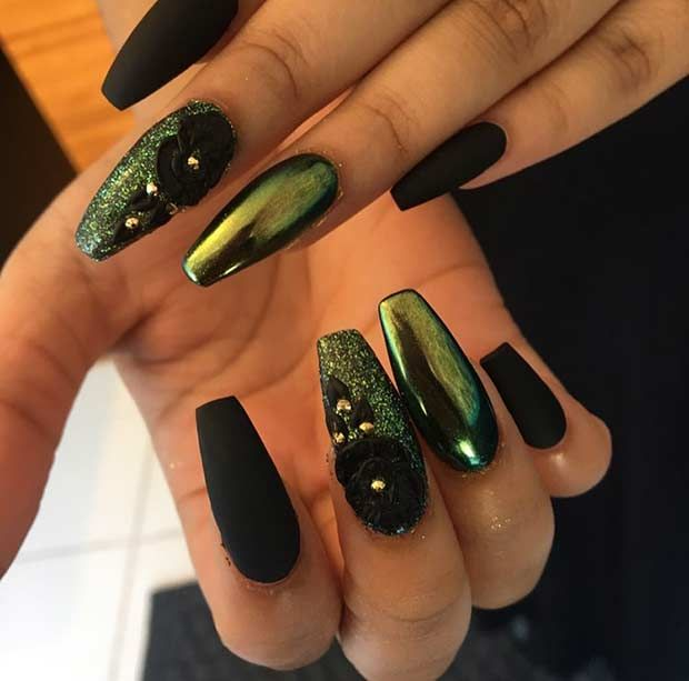 Matte Black and Metallic Green Nails - 21 Trendy Metallic Nail Designs To Copy Right Now Makeup