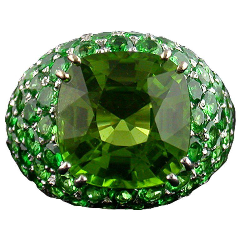 06903597b1252 Peridot and Tsavorite Garnet Ring | JEWELRY~~~Bling, bling, bling ...