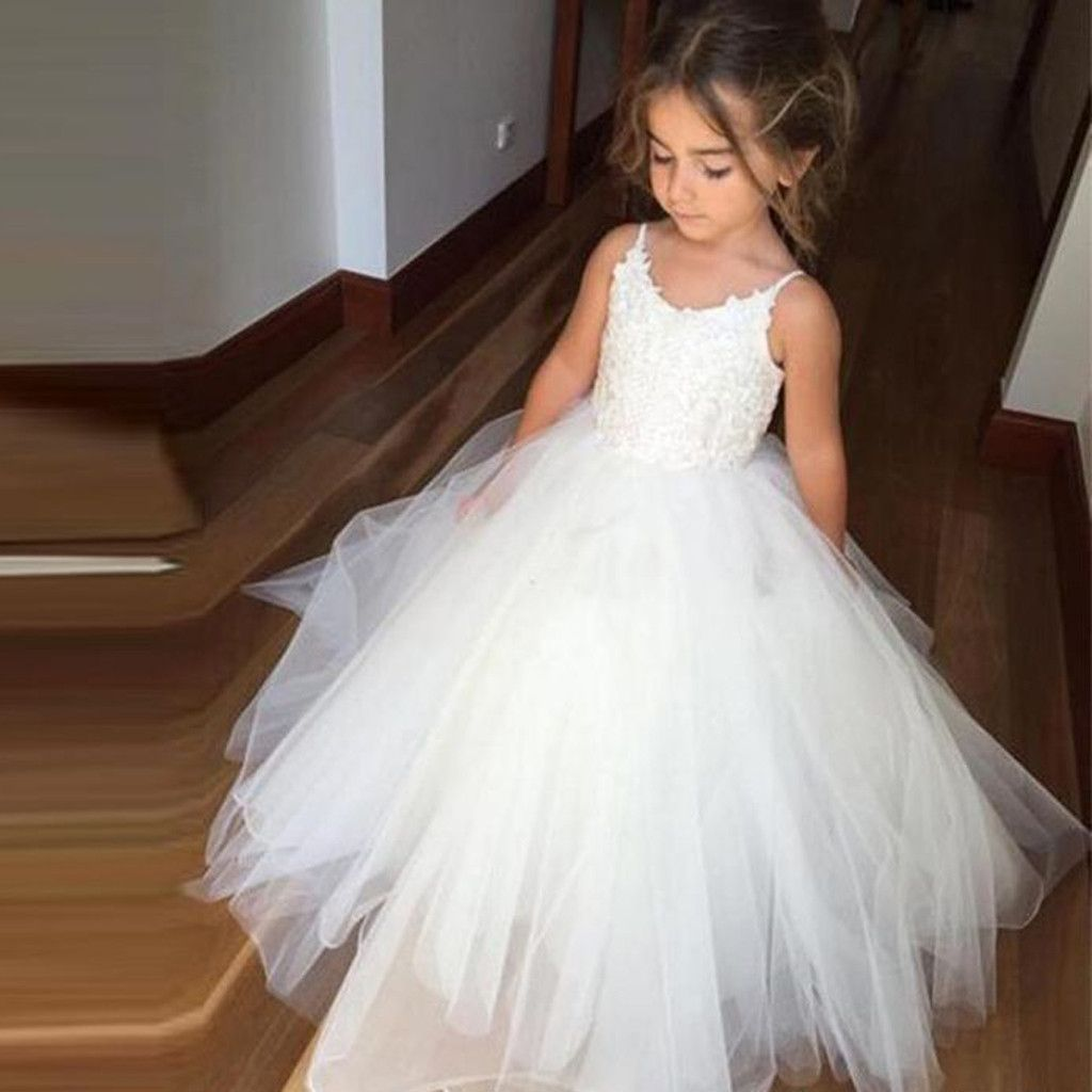 Spaghetti Lace Top White Tulle Hot Sale Flower Girl Dresses For