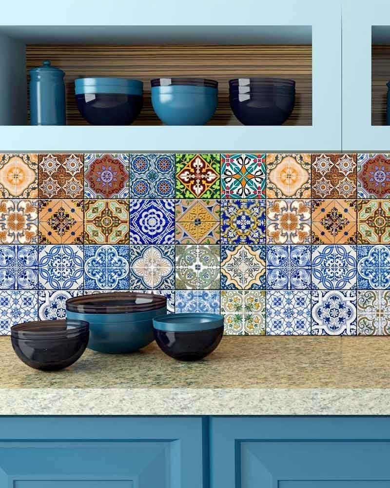 Amazon.com: Backsplash Tile Stickers 24 PC Set Authentic Traditional  Talavera Tiles Stickersl Bathroom U0026 Kitchen Tile Decals Easy To Apply Just  Peel And ...