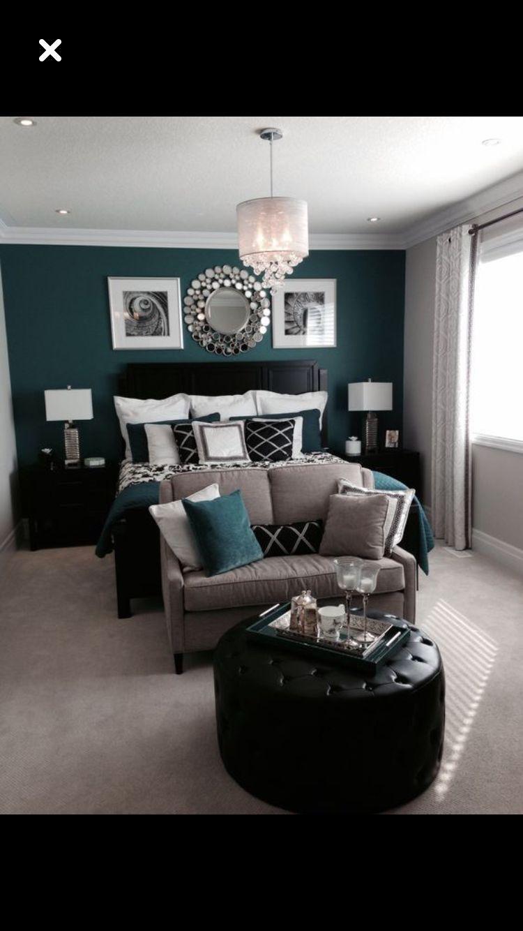 Teal Grey Bedroom With Loveseat As Footboard Remodel Bedroom