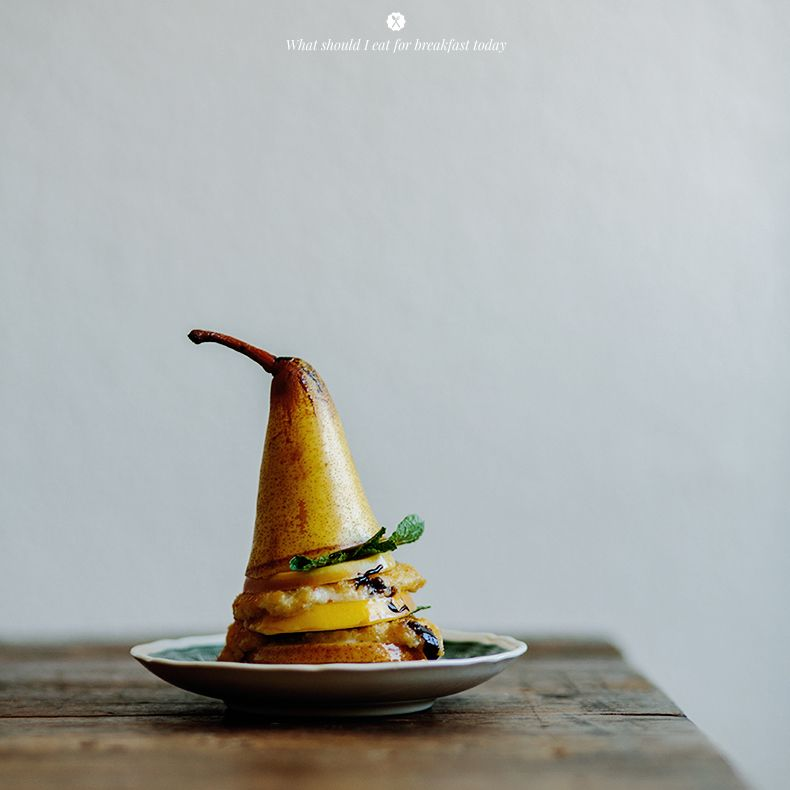 Fried apple with pear and mozzarella