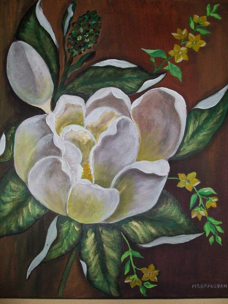 fleur de magnolia peinture acrylique sur toile 5ox4o. Black Bedroom Furniture Sets. Home Design Ideas