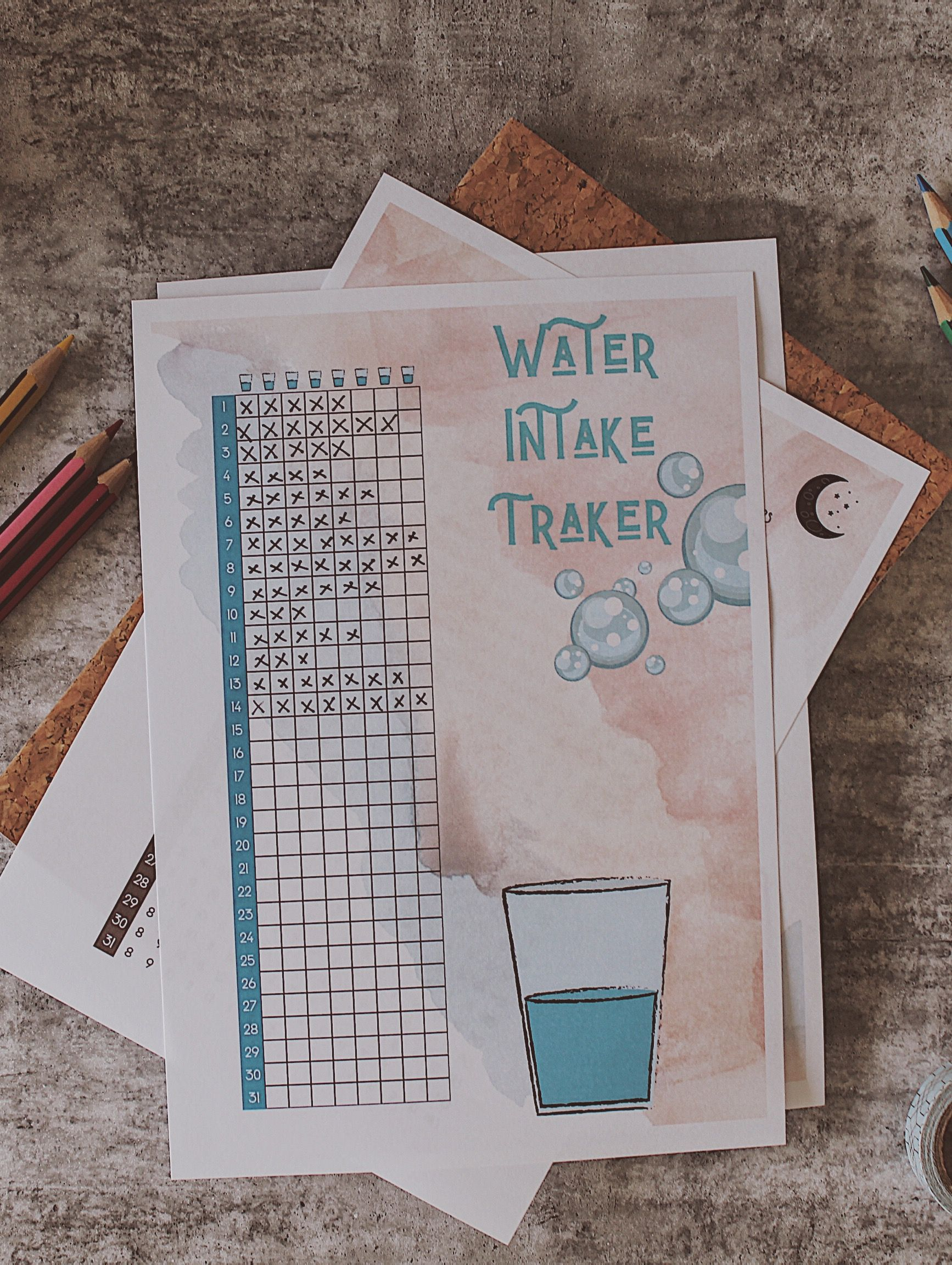 Water Intake Traker | Bullet Journal ~ Ideas & Inspirationa