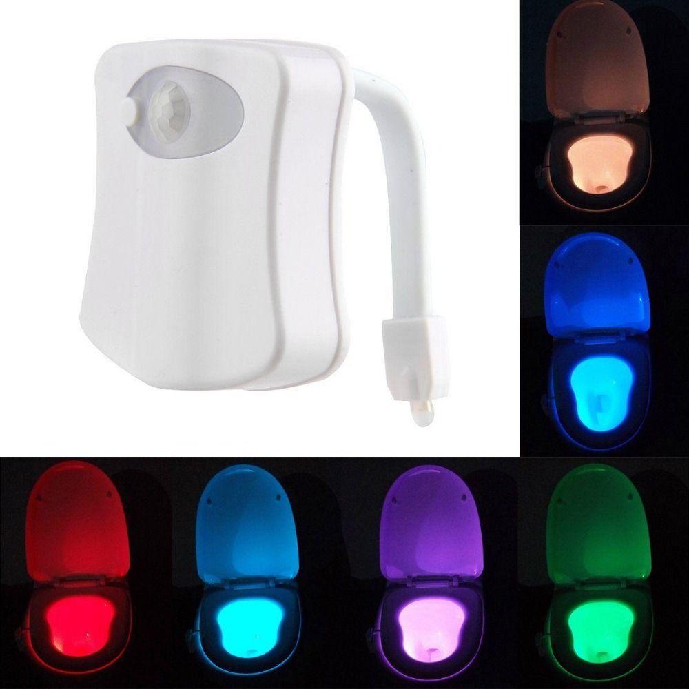 인간의 motion 센서 led 야간 조명 자동 8 색상 빛 제어 화장실 빛 화장실 욕실 램프 아이 aaa 배터리 powed