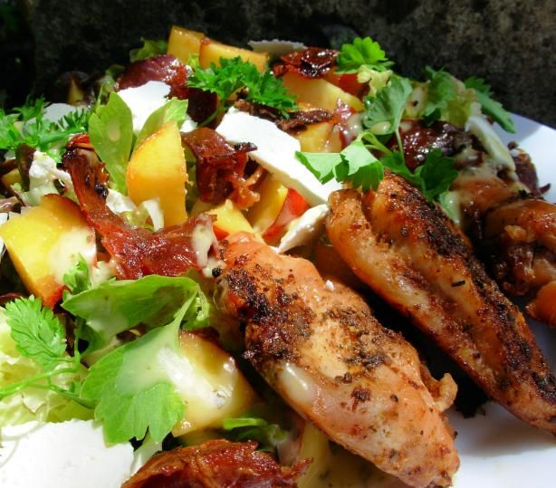 lemon and herb chicken with peach and prosciutto salad
