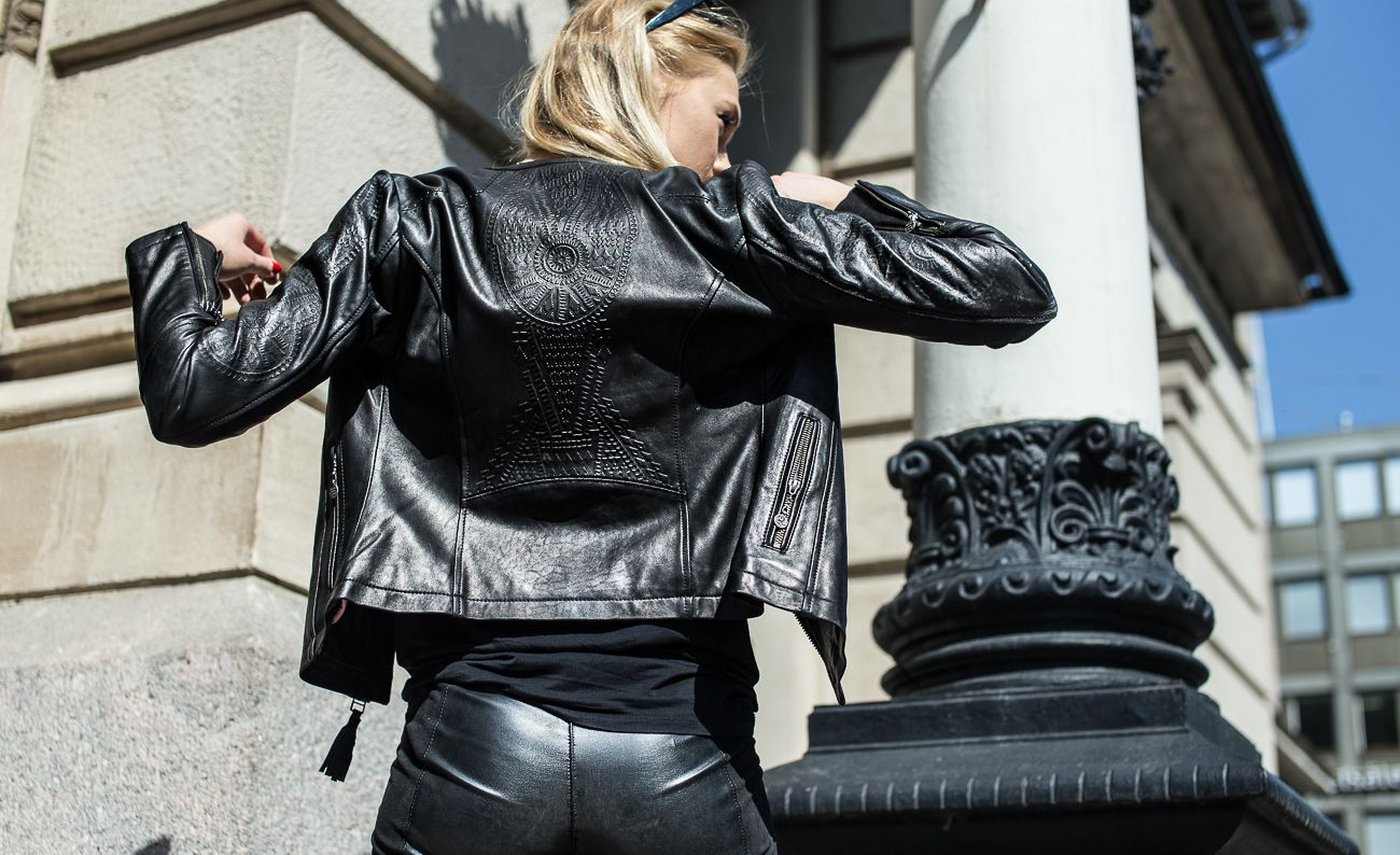 Minna Somero wearing Odd Molly leather jacket. www.oddmolly.com