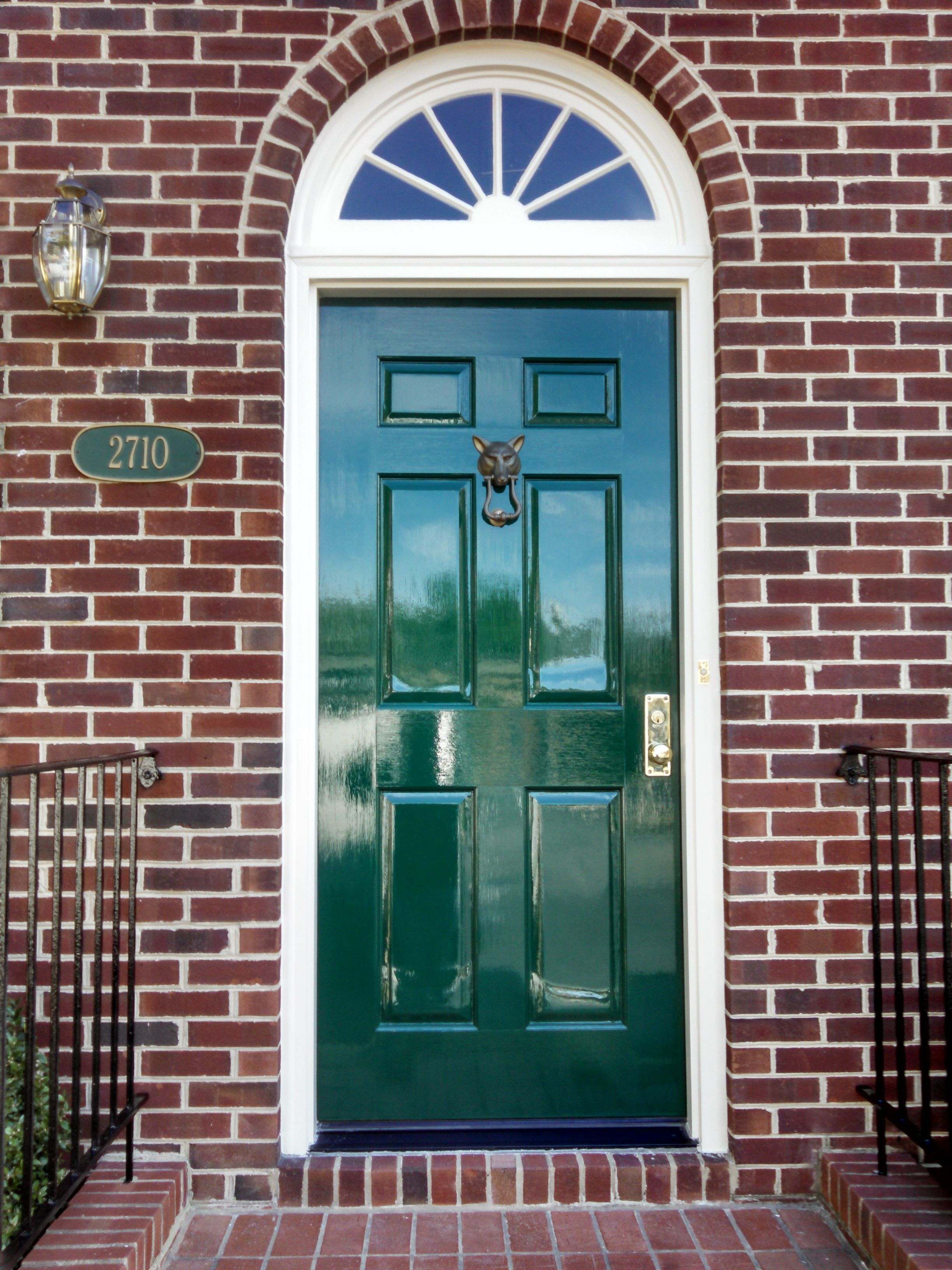 Glossy forest green front door painted in fine paints of for European entry doors