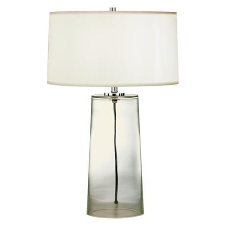 Robert Abbey Clear Glass Base With White Shade Table Lamp H6943 Lamps Plus Modern Glass Table Lamps Lamp Table Lamp