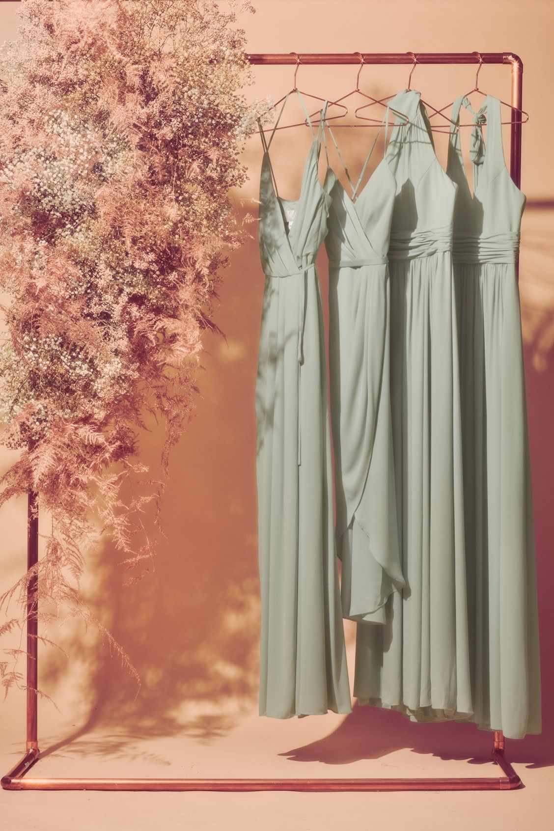 Gorgeous Pale Green Bridesmaid Dresses From David S Bridal Introducing New Color Dusty Green Bridesmaid Dresses Green Bridesmaid Bridesmaid Dresses Dusty Sage