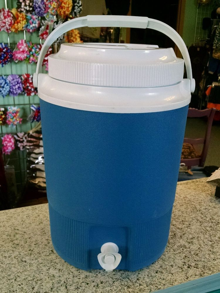 ce482af278 ... vintage dark blue 2 gallon rubbermaid water cooler jug with spigot 1526  rubbermaid ...