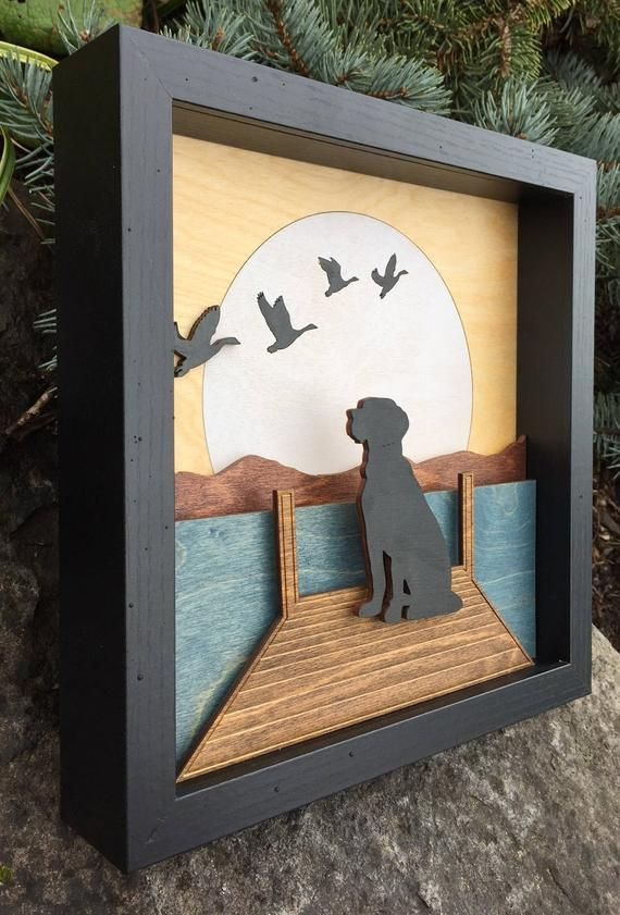 3D Laser Cut Shadow Box Wood Scene Inlaid, Etched / Dog on Dock with Ducks / Lake, Mountains, Moon / Handcrafted / Custom / Black Labrador