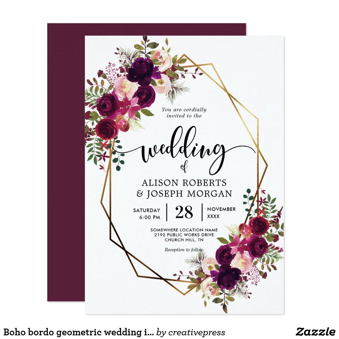 Boho Bordo Geometric Wedding Invitation Zazzle Com Wedding Invitations Boho Geometric Wedding Wedding Invitations