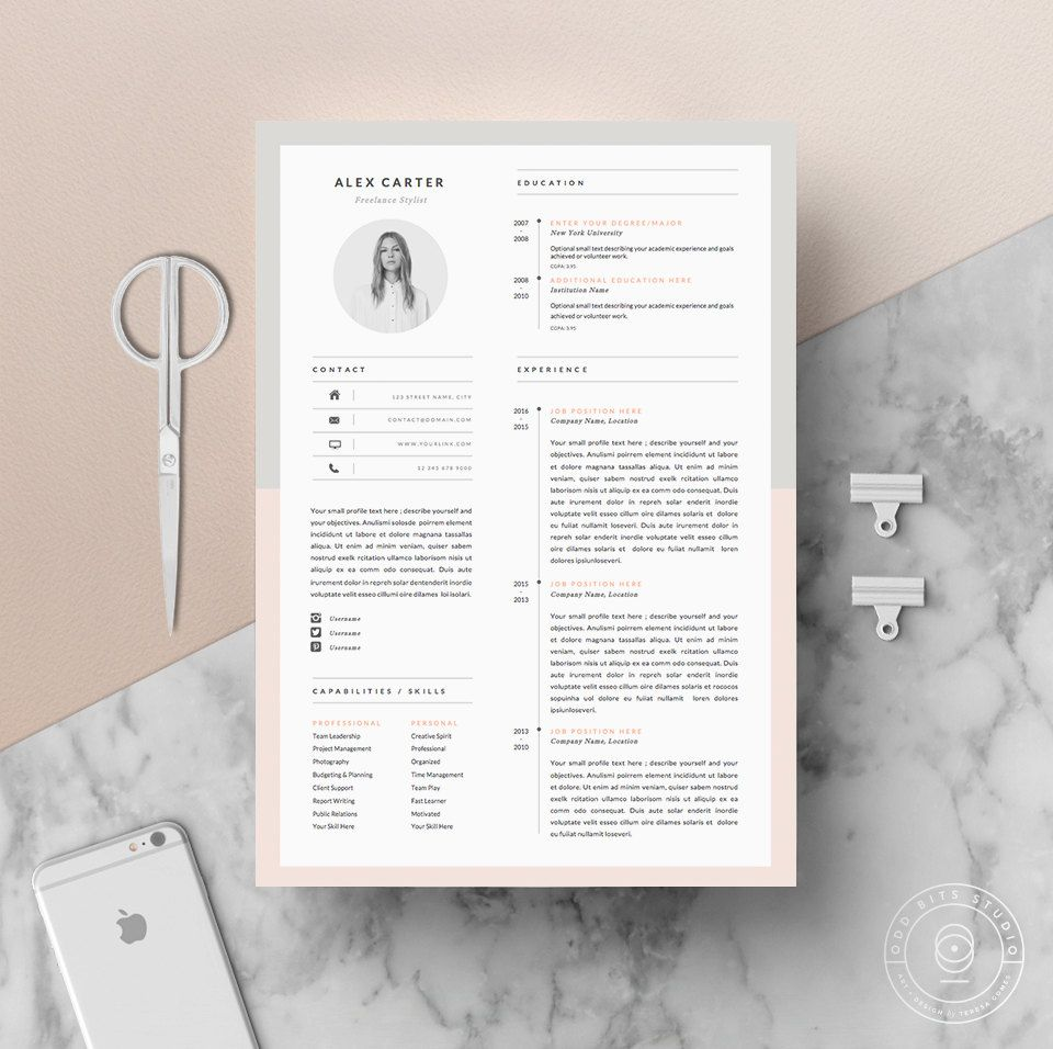 Modern Resume Template  Cover Letter  Icon Set For Microsoft Word
