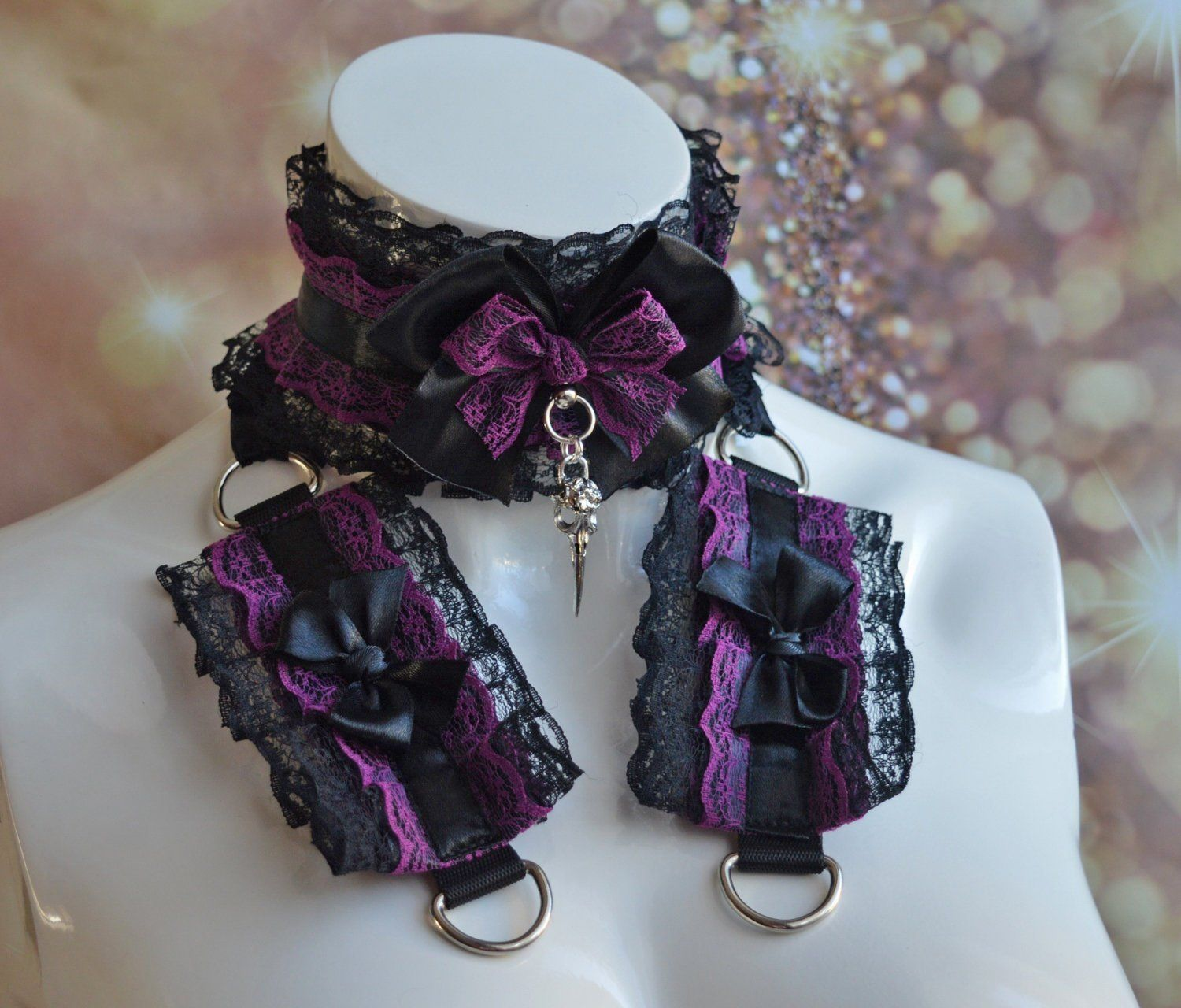 Made To Order Gothic Choker And Wristband Set Ravenora Goth Victorian Women Lace Collar Cuffs Dark Cabaret Princess By Nekollars With Images Gothic Chokers Chokers Victorian Women
