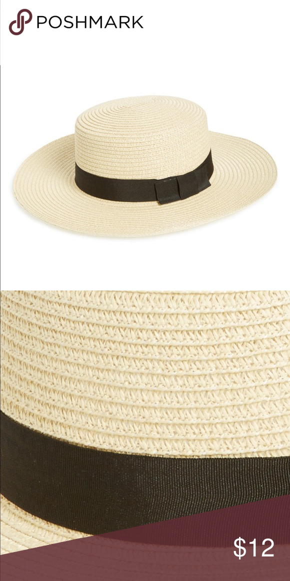 41ee763e3634e Nordstrom BP straw boater hat Sold out Nordstrom BP straw hat with black  ribbon. Never