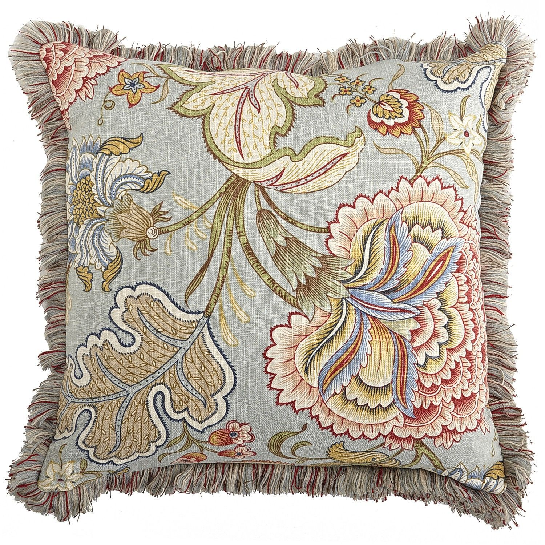 floral fringe pillow blue meadow