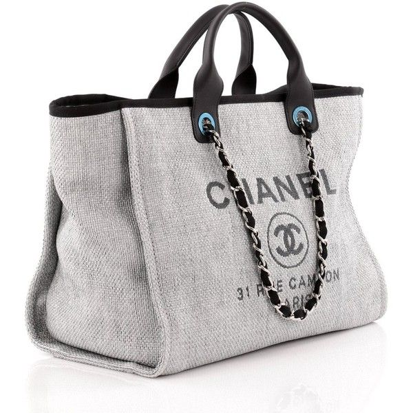 bc59c13db9e9 Chanel Deauville Chain Tote Canvas Large (7,685 ILS) ❤ liked on Polyvore  featuring bags