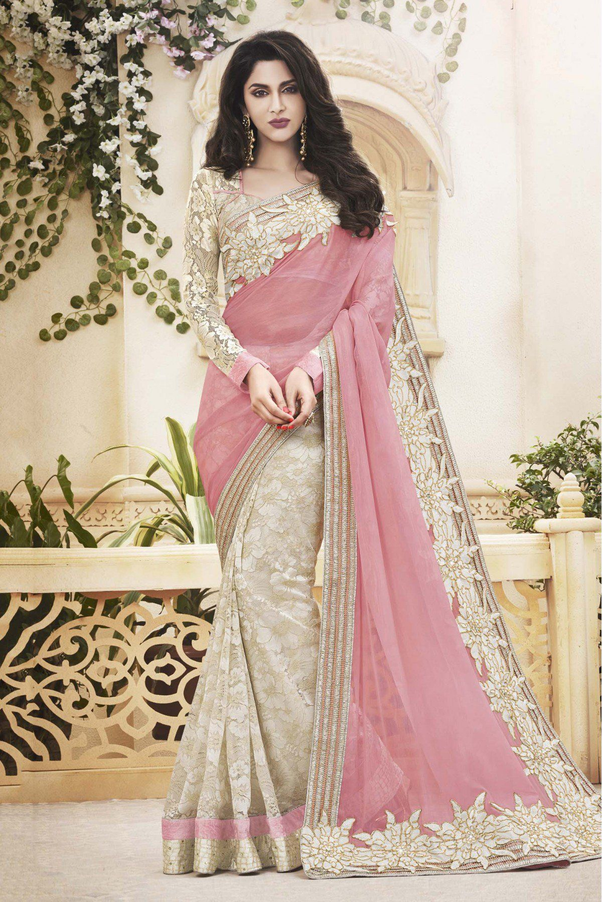 20c2b559c3 Buy Net and Pure Chiffon Designer Saree In Off White and Pink Colour for  women @ ninecolours.com. Best Price Guaranteed!