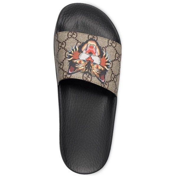 496be2b95f1bf0 Women s Gucci Pursuit Tiger Print Slide Sandal ( 320) ❤ liked on Polyvore  featuring shoes