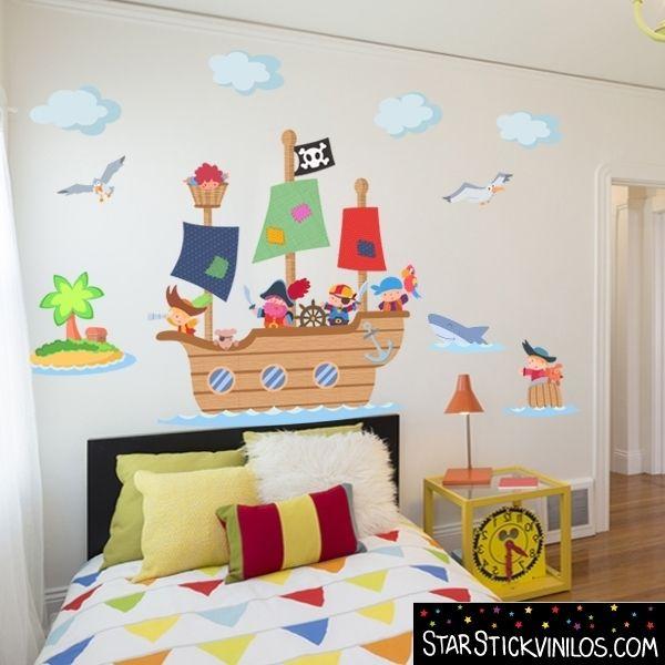 Vinilo infantil para ni os gran barco pirata barco for Vinilos juveniles nina