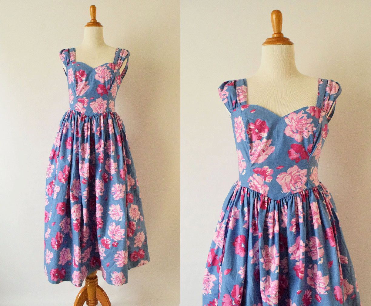 Vintage 1980's Laura Ashley Floral Dress | Pink and Purple Floral Cotton Dress by GracedVestige on Etsy